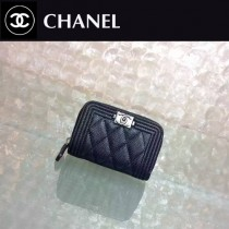 CHANEL 0356-4 輕便實用黑色原版魚子醬銀扣拉鏈零錢包卡包