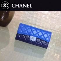 CHANEL 0352-2 潮流新款藍配淺藍配深藍原版羊皮搭扣長款錢包