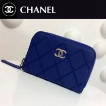 CHANEL 0021-2 輕便實用藍色原版荔枝紋粗線拉鏈零錢包卡包