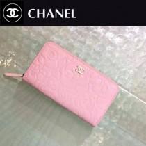 CHANEL 50932-3 新款山茶花系列粉色原版牛皮金扣長款拉鏈錢包