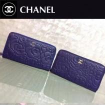 CHANEL 50932-2 新款山茶花系列藍色原版牛皮金銀扣長款拉鏈錢包