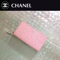 CHANEL 50932-4 新款山茶花系列粉色原版牛皮銀扣長款拉鏈錢包