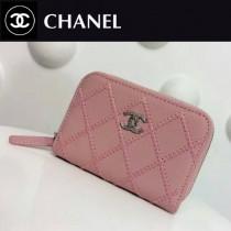 CHANEL 0021 輕便實用粉色原版荔枝紋粗線拉鏈零錢包卡包