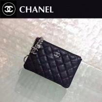 CHANEL 625-3 潮流新款黑色原版魚子醬皮銀扣吊飾零錢包