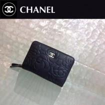 CHANEL 81004 時尚山茶花系列黑色原版小牛皮雙拉鏈錢包