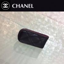 CHANEL 808 輕便實用黑色原版羊皮金銀扣鈔票夾