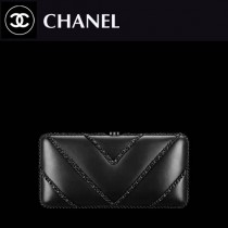 CHANEL 0502 專櫃最新限量版黑色原版羊皮單肩斜挎包晚宴包