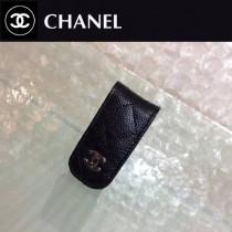 CHANEL 808-2 輕便實用黑色原版魚子醬皮銀扣鈔票夾
