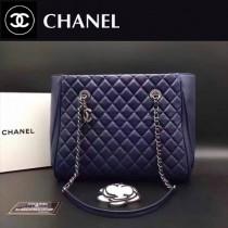 CHANEL 0514 秋冬季新款女士藍色原版羊皮單肩購物袋