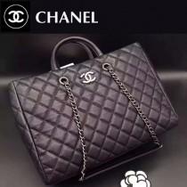 CHANEL 0515-2 秋冬新款女士黑色原版胎牛皮手提單肩包子母包