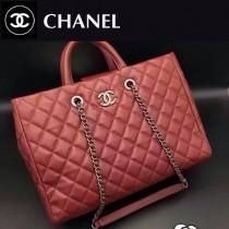 CHANEL 0515 秋冬新款女士紅色原版胎牛皮手提單肩包子母包