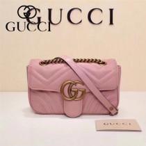 Gucci 446744-05 專櫃原版皮新款小牛皮Marmont系列仿鹿皮內襯小號單肩包