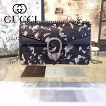 Gucci 400249-019 歐美時尚新款dionysus系列真皮手工雕花織紋虎頭馬刺扣小號酒神包
