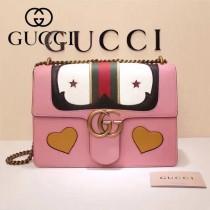 Gucci 431382-02 歐美時尚新款Marmont 愛心小牛皮手提單肩包