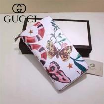 Gucci 410102-01 專櫃時尚新款PVC塗鴉系列拉鏈款錢包