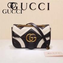 Gucci 446744-01 專櫃原版皮新款小牛皮Marmont系列仿鹿皮內襯小號單肩包