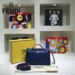 FENDI 9133-4 潮流新款彩色亞克力裝飾藍色原版牛皮大小號波士頓包