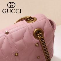 Gucci 443497-06 專櫃原版皮新款進口小牛皮Marmont 方格系列單肩包