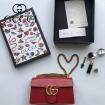 Gucci 431777-02 專櫃時尚新款Marmont系列原單牛皮斜背包