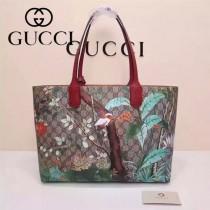 Gucci 412096-03 專櫃時尚新款花鳥系列PVC配牛皮購物袋