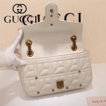 Gucci 443497-08 專櫃原版皮新款進口小牛皮Marmont 方格系列單肩包