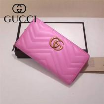 Gucci 440887-02 專櫃時尚新款GG Marmont系列小牛皮拉鏈錢包