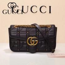 Gucci 443497-07 專櫃原版皮新款進口小牛皮Marmont 方格系列單肩包
