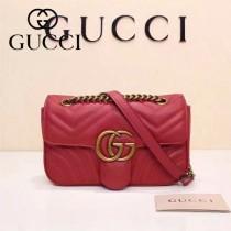 Gucci 446744-03 專櫃原版皮新款小牛皮Marmont系列仿鹿皮內襯小號單肩包