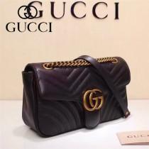 Gucci 443497-05 專櫃原版皮新款小牛皮Marmont系列仿鹿皮內襯單肩包