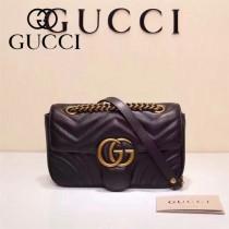 Gucci 446744-02 專櫃原版皮新款小牛皮Marmont系列仿鹿皮內襯小號單肩包