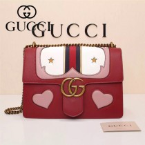 Gucci 431382-01 歐美時尚新款Marmont 愛心小牛皮手提單肩包