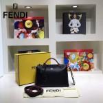 FENDI 9133-5 潮流新款彩色亞克力裝飾黑色原版牛皮大小號波士頓包