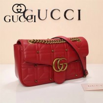 Gucci 443497-09 專櫃原版皮新款進口小牛皮Marmont 方格系列單肩包