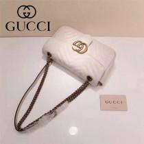 Gucci 443497-02 專櫃原版皮新款小牛皮Marmont系列仿鹿皮內襯單肩包