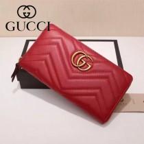 Gucci 440887-04 專櫃時尚新款GG Marmont系列小牛皮拉鏈錢包
