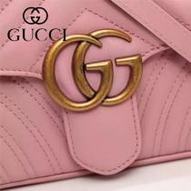 Gucci 443497-03 專櫃原版皮新款小牛皮Marmont系列仿鹿皮內襯單肩包