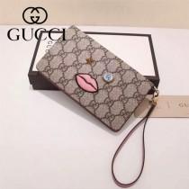Gucci 431405 專櫃時尚新款PVC配牛皮嘴巴系列手拿包