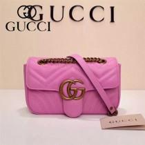 Gucci 446744 專櫃原版皮新款小牛皮Marmont系列仿鹿皮內襯小號單肩包