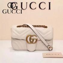 Gucci 446744-04 專櫃原版皮新款小牛皮Marmont系列仿鹿皮內襯小號單肩包