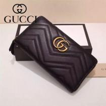 Gucci 440887-03 專櫃時尚新款GG Marmont系列小牛皮拉鏈錢包