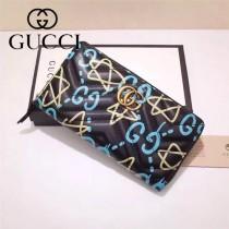 Gucci 440887 專櫃時尚新款黑色全皮彩繪系列拉鏈款錢包