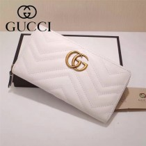 Gucci 440887-01 專櫃時尚新款GG Marmont系列小牛皮拉鏈錢包