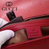 Gucci 443497-01 專櫃原版皮新款小牛皮Marmont系列仿鹿皮內襯單肩包