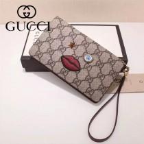 Gucci 431405-01 專櫃時尚新款PVC配牛皮嘴巴系列手拿包