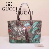 Gucci 412096-02 專櫃時尚新款花鳥系列PVC配牛皮購物袋