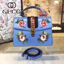 Gucci 431665-09 專櫃時尚新款Sylvie系列花朵刺绣限量版手提單肩包