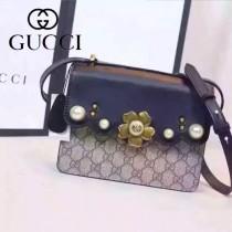 Gucci 432682-04 歐美時尚新款peony真皮鏈帶配以金屬梅花和玻璃珍珠小號肩背包