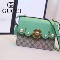 Gucci 432682-06 歐美時尚新款peony真皮鏈帶配以金屬梅花和玻璃珍珠小號肩背包