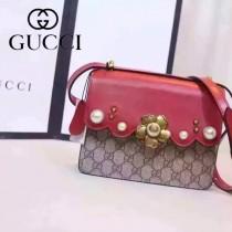Gucci 432682-07 歐美時尚新款peony真皮鏈帶配以金屬梅花和玻璃珍珠小號肩背包
