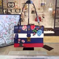 Gucci 421998-01 專櫃時尚新款貓瑣扣純手工刺繡小牛皮女士手提包
